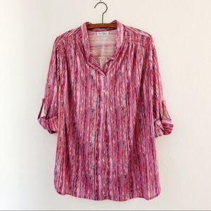 vintage pink striped 70s/80s blouse top plus XXL